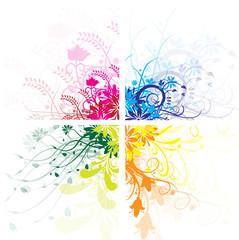 4 floral couleurs