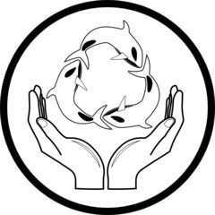 Vector killer whale and hands icon. Black and white.