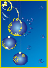 christmas decoration isolated on the blue background