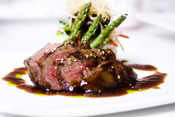 gourmet fillet mignon steak at five star restaurant.