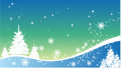Fir and Show New Year Background