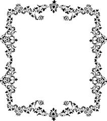 black leaves frame on white