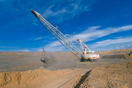 Dragline in open cut coal mine