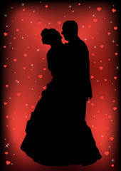Couple just married silhouette