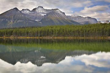 Mountain, wood and lake.