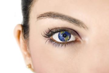 Female eye with earth image
