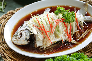 Chinese style marinated steamed fish