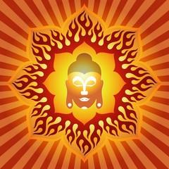 God Buddha Face On Firey Lotus Background