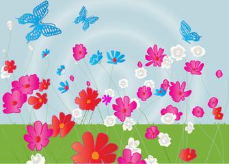 Flower garden with butterflies, vector illustration