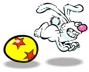 Vector cartoon easter bunny 02