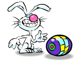Vector cartoon easter bunny 01