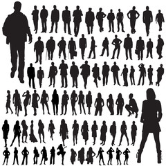 people mix vector silhouettes