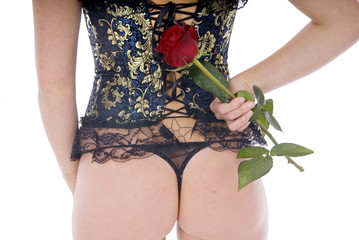 woman bottom with elegant corset and rose