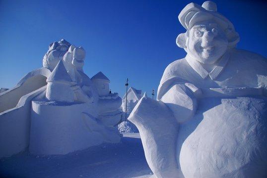 Snow sculpture of the man