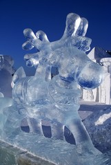 Ice sculpture of a deer
