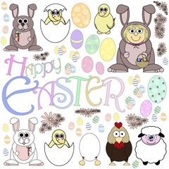 Easter  Cartoon Series Page- Isolated On White