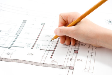 project technical hand drawing scheme with pencil