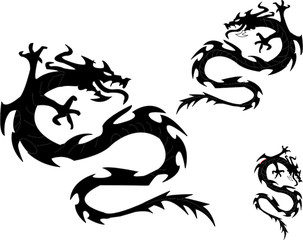 Dragons silhouettes. Vector illustration