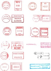 european postage meters isolated over white
