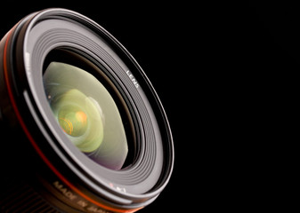 close up of professional lens on black