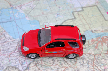 model of car on a map