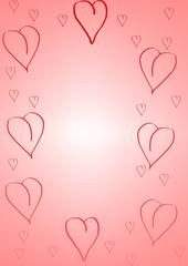 cadre faits de coeurs et d'un dégradé de rose