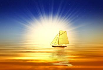 Beautiful sunrise with boat