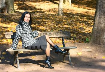 Girl sit on bench