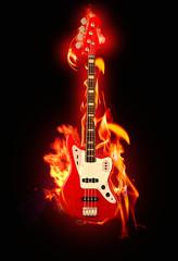 Acrylic Prints Flame Flaming Guitar
