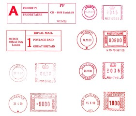european posta meters isolated over white