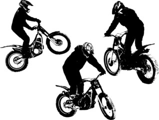 Fototapete - Vector silhouettes of three motobikers
