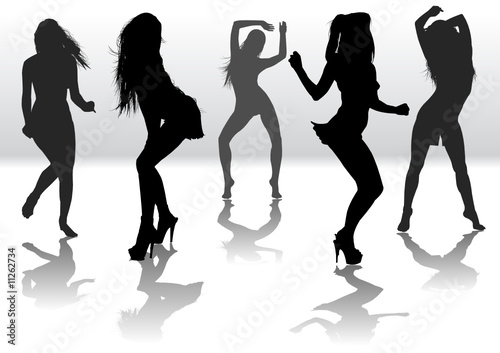 """Dancing girls silhouette"" Stock image and royalty-free ..."