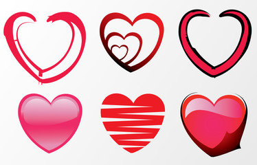 set of six different heart icons
