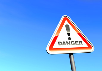 Danger - exclamation point sign against the blue sky
