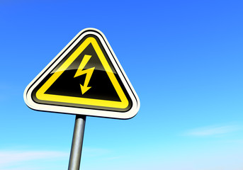 """""""High voltage"""" sign against the blue sky"""