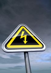 """""""High voltage"""" sign against the night sky"""
