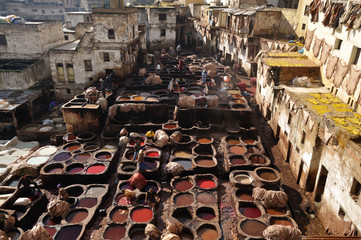 The medieval traditional tanneries of Fes Morocco