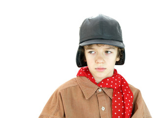 Boy with red scarf and black hat