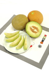 melon and slices