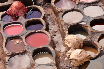 Traditional tannery in Fes, Morocco