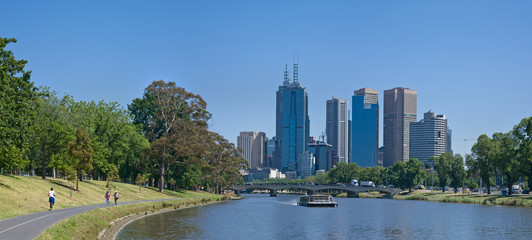 Melbourne skyline along the Yarra River