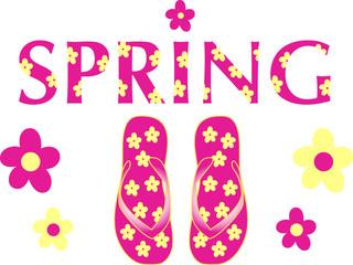 Pink Spring flip flops