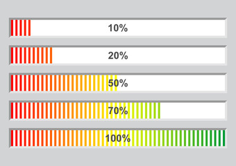 Colorful software installation progress bars at different stages