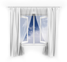 Illustration of an open window with a blue sky behind.