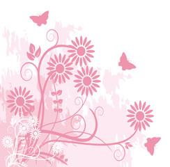 floral grunge rose et papillons