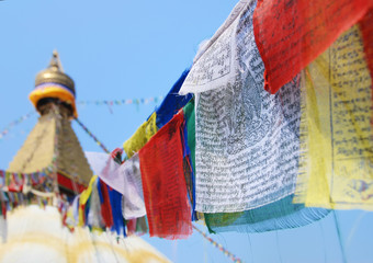 Flags in buddhist stupa