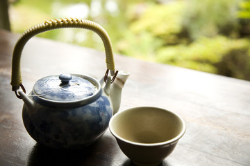 Green Tea in Pot and Ready to Pour