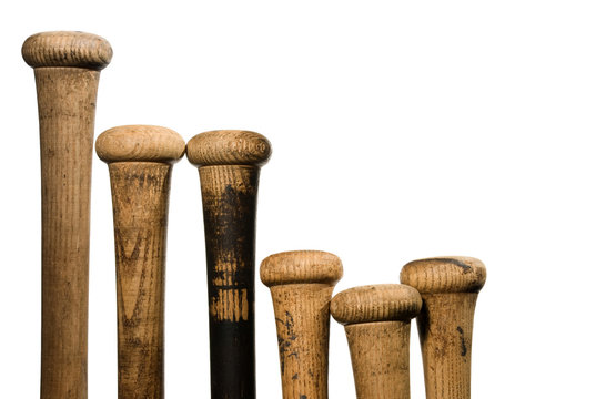 Old wood baseball bats, isolated on white