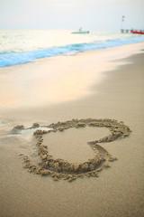 Heart on a sand