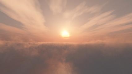 mer de nuages et coucher de soleil